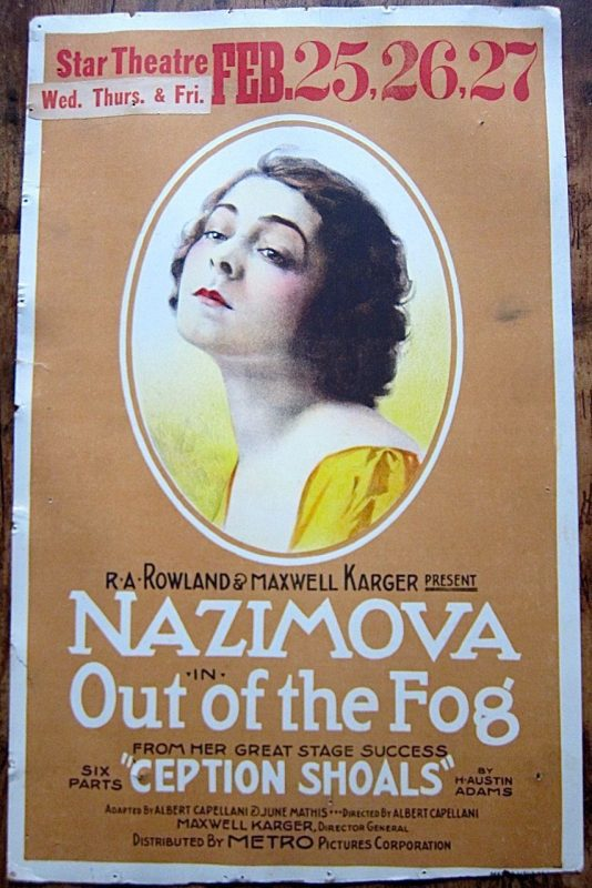 "Poster for ""Out of the Fog"" (1919) starring Alla Nazimova"