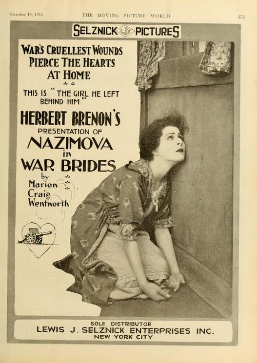 "Poster for ""War Brides"" starring Alla Nazimova in her first motion picture (1916)"