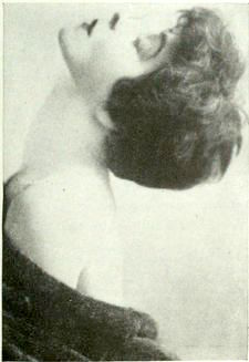 Profile of Alla Nazimova looking upwards