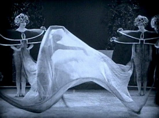 "Screenshot of Alla Nazimova doing the Dance of the Seven Veils in ""Salome"" (1923)"