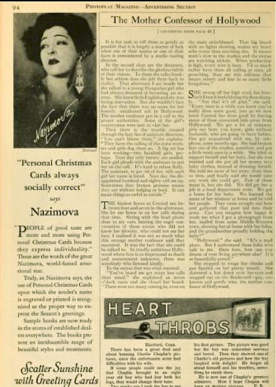 Alla Nazimova in September, 1927, Photoplay magazine