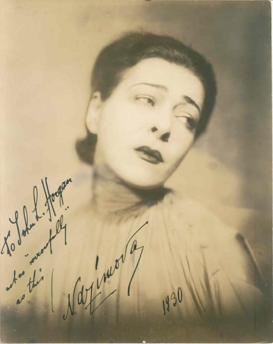 Signed Alla Nazimova portrait signed to John L. Horgan 1930.