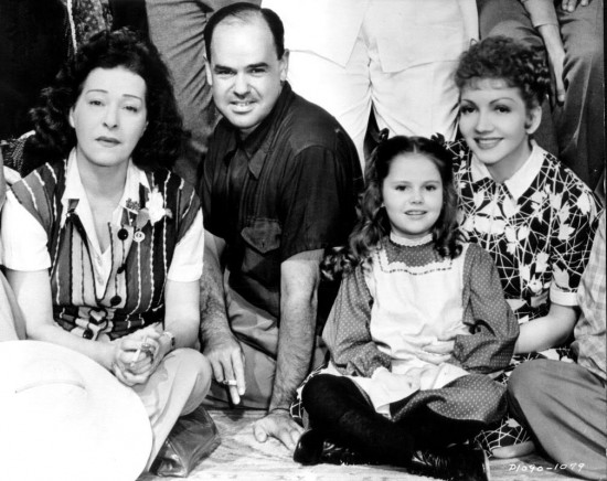 """1938: Alla Nazimova (who served as production consultant), dialogue director James Vincent, Ann Todd and Claudette Colbert on the set of """"Zaza"""""""