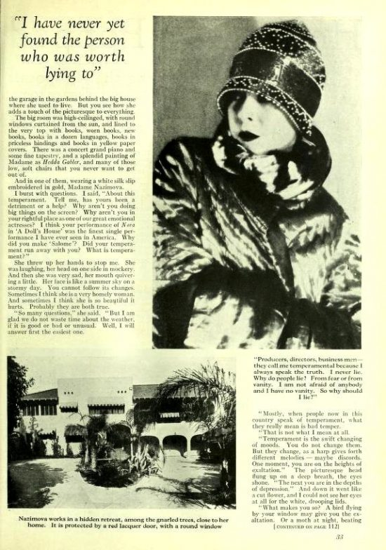 1926: Article about Alla Nazimova in Photoplay magazine, by Adela Rogers St. John