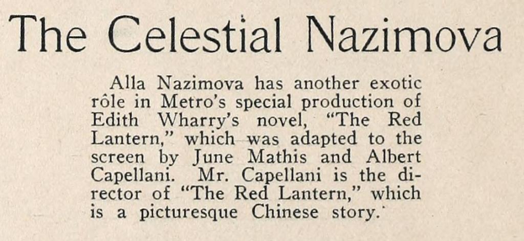 The Celestian Nazimova - Motion Picture Classic magazin, 1919