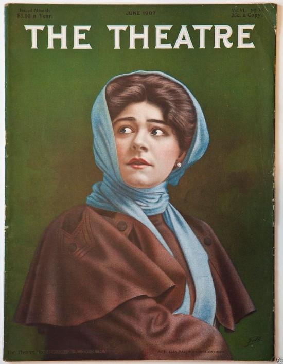 """1907 -  Alla Nazimova on the cover of """"The Theatre"""" magazine, June, 1907"""