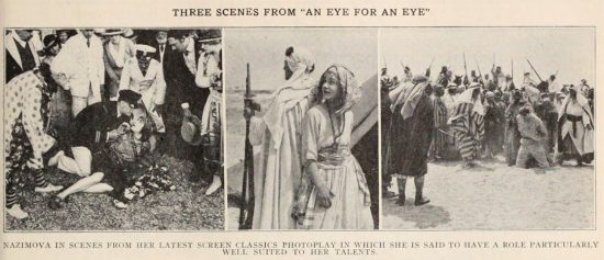 "Three scenes from ""An Eye for an Eye"" (1918) starring Alla Nazimova"