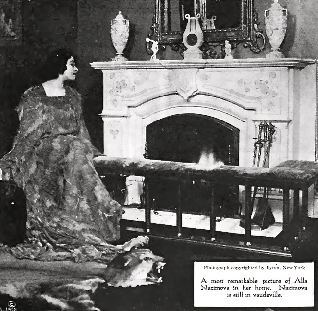 """1915: Alla Nazimova at home in during the run of her 35-minute play """"War Brides"""""""