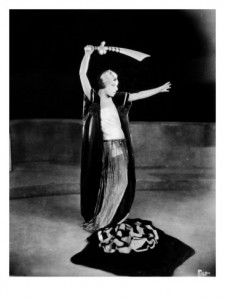 "1923: Alla Nazimova with sword, in ""Salome"""