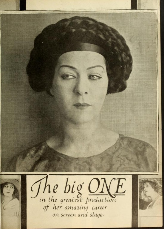 "1919: Alla Nazimova in magazine advertisement for ""The Red Lantern"""