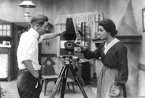 "1916: Alla Nazimova with director, Herbert Brenon, on the set of her first movie, ""War Brides"""