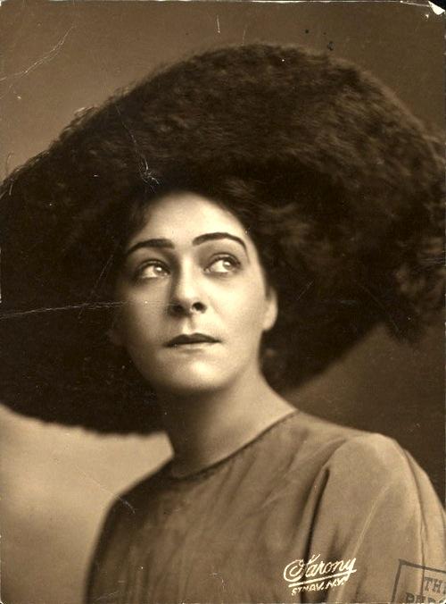 Portrait of Alla Nazimova in wide-brimmed hat