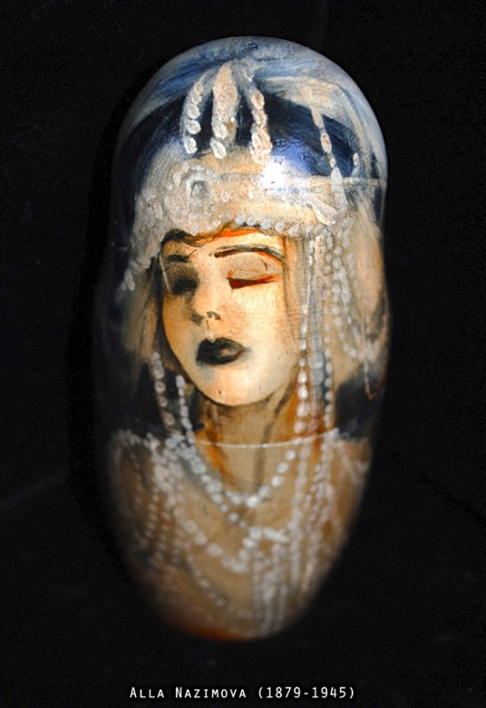 Alla Nazimova is included in a set of (non-traditional) matryoshka dolls by Alex Chowaniec