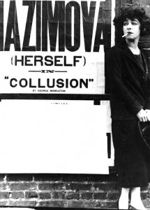 "1923: Alla Nazimova standing next to poster for Broadway play ""Collusion"""