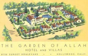 Newspaper advertisements for the Garden of Allah Hotel