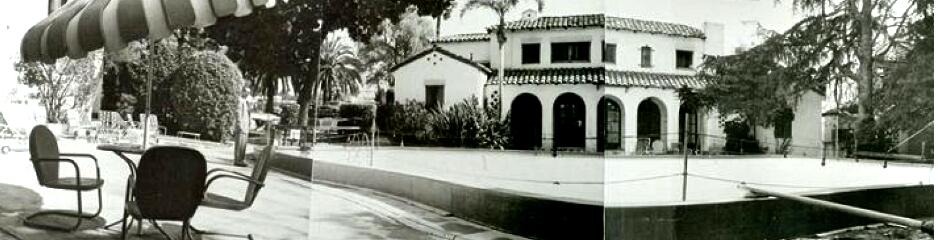 Composite panoramic photo of the swimming pool and main building of the Garden of Allah Hotel