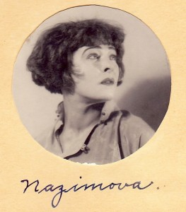 Alla Nazimova in cropped hairdo (with autograph)