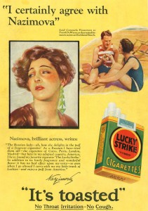 Alla Nazimova in advertisement for Lucky Strikes cigarettes.