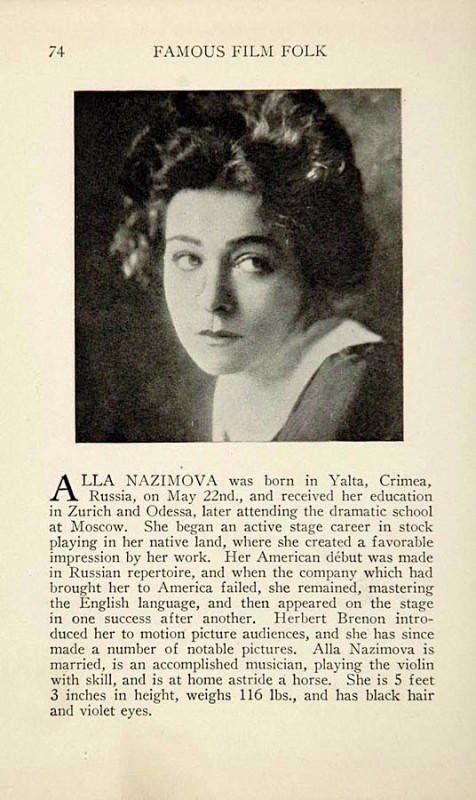 "Alla Nazimova page from ""Famous Film Folk"" (published 1925)"