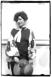 Alla Nazimova in big-sleeved outfit.