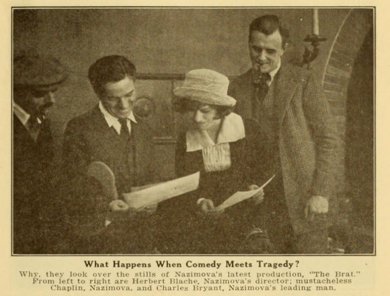 From left: director Herbert Blache, Charlie Chaplin, Nazimova and Charles Bryant