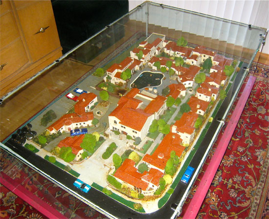 The model of the Garden of Allah Hotel, built in 1960, as it appears in 2013