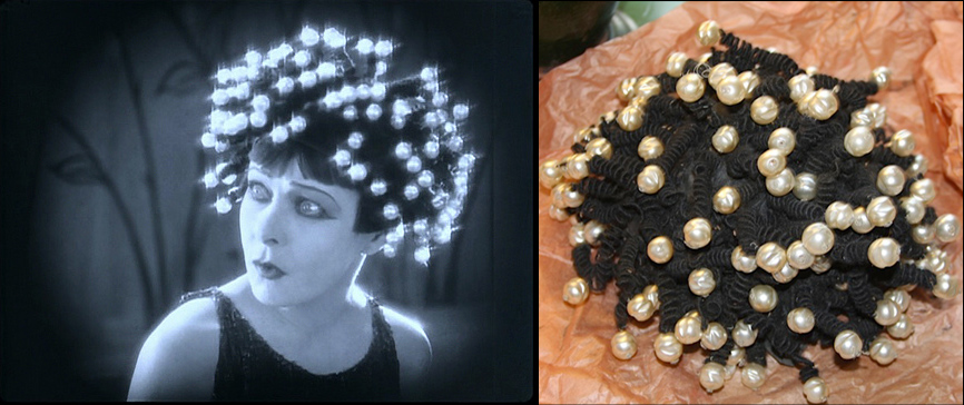 "Left: Screen capture of Alla Nazimova wearing the wig in ""Salome"" (1923); right: the wig as it appeared when it was discovered recently in a trunk (Jack Raines © 2014)"