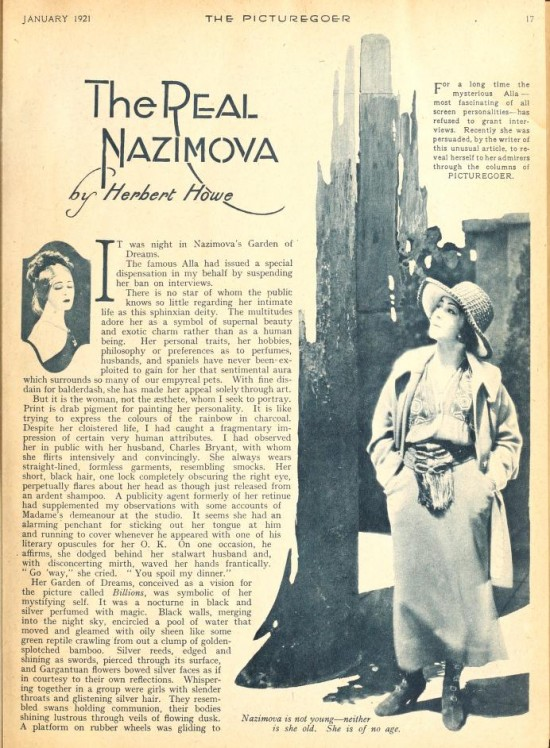 "1921: Article from Picturegoer magazine, January 1921: ""The Real  Nazimova"" by Herbert Howe (page 1)"
