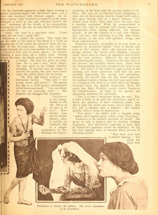 "1921: Article from Picturegoer magazine, January 1921: ""The Real  Nazimova"" by Herbert Howe (page 3)"