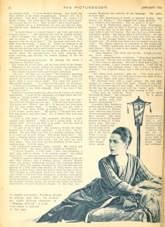 "1921: Article from Picturegoer magazine, January 1921: ""The Real  Nazimova"" by Herbert Howe (page 4)"