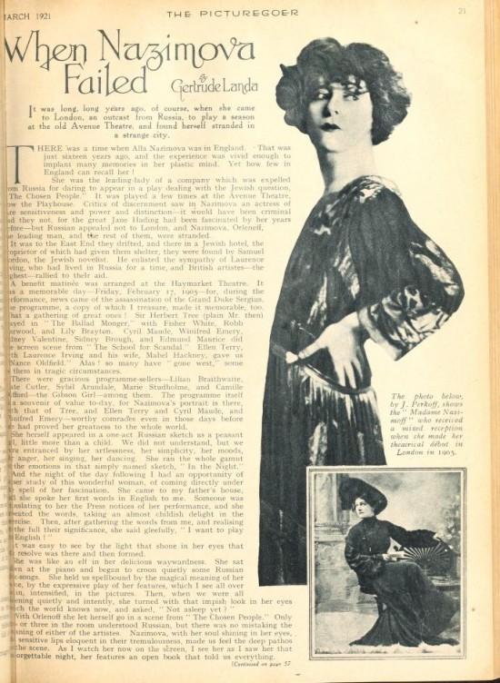 "1921: Article from Picturegoer magazine, January 1921: ""When Nazimova Failed"" by Gertrude Landa (page 1))"