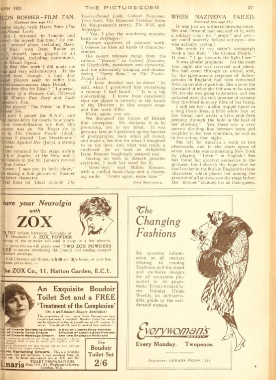 "1921: Article from Picturegoer magazine, January 1921: ""When Nazimova Failed"" by Gertrude Landa (page 2)"