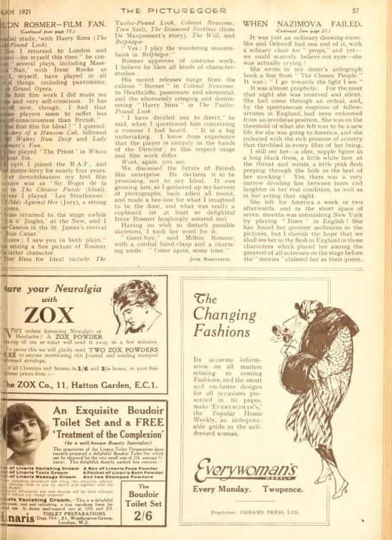 "1921: Article from Picturegoer magazine, January 1921: ""When Nazimova Failed"" by Gertrude Landa (page 2)"