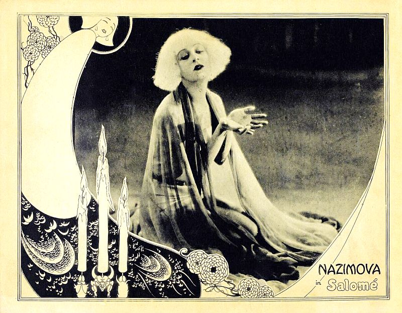 "1923: Alla Nazimova in a lobby card for ""Salome"""