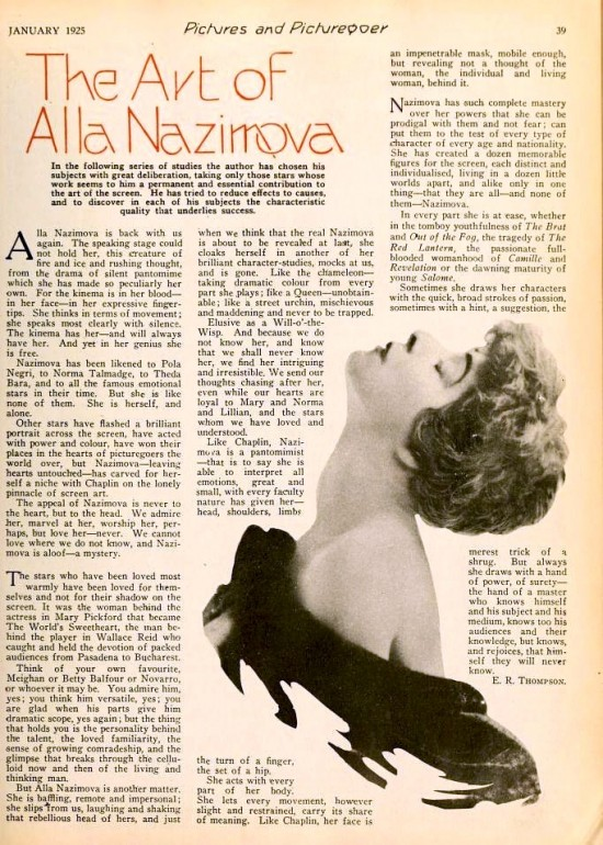 "1925: Article from Pictures and Picturegoer magazine, January 1925: ""The Art of Alla Nazimova"" by E. R. Thompson"