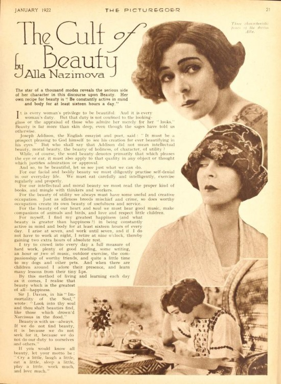 "1922: Picturegoer magazine article, January 1922: ""The Cult of Beauty"" by Alla Nazimova"
